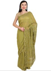 Lucknowi Chikan Work Olive Green Saree