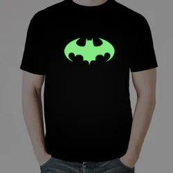 Cotton Casual Wear Batman Radium T-Shirt, Size: Small, Medium, Large