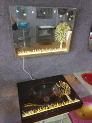 LED Glass Wash Basin Full Set with Mirror Steel Stand