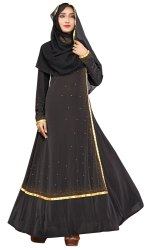 Women's Lycra Abaya Burqa with Golden Satin Lace And Stone Work With Dupatta