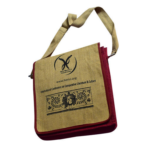 2128c65091 Brown And Red Jute Promotional Bag