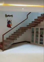 Designer Wooden Glass Handrail