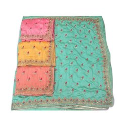 Party Wear Embroidered Silk Cotton Sarees, 6.3 Meter