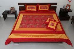 Embroided Red Jaipuri Silk Bedding Set