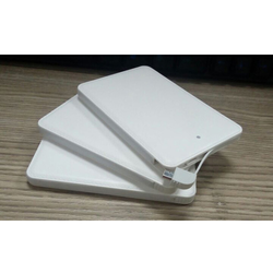 White Credit Card Shape Power Bank 5000 mAh Leather Textured