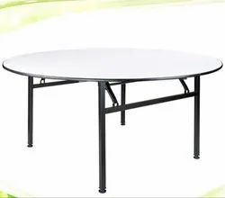 White and Black Round Showroom Table