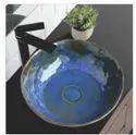 Mozio Italian Ceramic Aqua Blue Picasso Wash Basin, For Home, Model Name/number: P13000