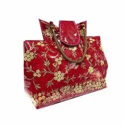 Red Satin Designer Wedding Handbag