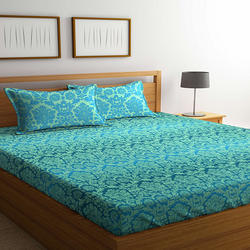 Bombay Dyeing Mimosaa 100 TC Cotton Double Bedsheet with 2 Pillow Covers, Green
