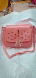 Hand Handled Leather Ladies Pink Hand Bag, Packaging Type: Box, for Casual Wear