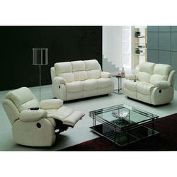 White Leather Recliner Designer Sofa Set