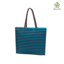 Jute Bag With Horizontal Stripes