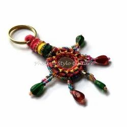 Bohemian Silk Thread Mirror & Beads Key Rings