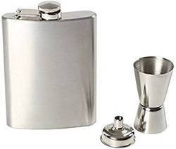 Steel Hip Flask , Peg Measure And Funnal