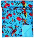 Bird Printed Kantha Quilt Bed Cover