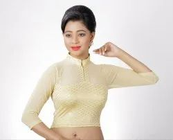 Abhi Stretchable Blended Fabric Hi-Neck Blouse with Net Three Quarter Sleeves
