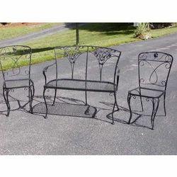 Wrought Iron Black Garden Sofa Set