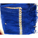 GP-D155 4 Sided Gold Lace Royal Blue Net Dupatta