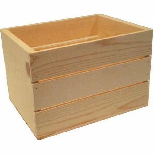 Open Pine Wooden Crate