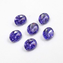 Cubic Zirconia Blue Oval