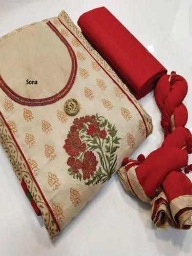 834e299363 Female Formal Wear Fancy Chanderi Dress Material, Rs 660 /piece | ID ...