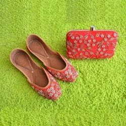 Red Designer Clutch With Matching Jutti