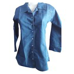 Blue Girls Ladies Denim Shirt