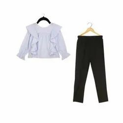 Casual Wear Kids Legging And Blue Striped Frill Top Set