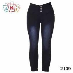 Black Denim Ladies Four Button Stretchable Jeans