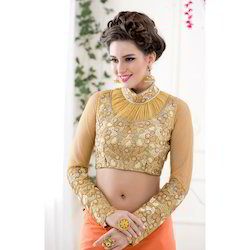 Embroidered Golden Color Fancy Ladies Blouse