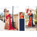 Georgette Stylish Embroidered Saree With Blouse Piece