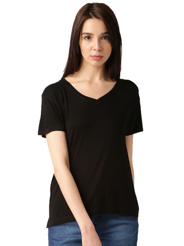 8ba5cce5 V-Neck Half Sleeve Black T Shirt For Women's, Rs 125 /piece | ID ...
