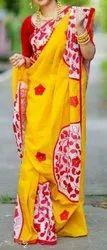 Runu's Boutique Cotton Aplik Design On Handloom Saree, Hand Made, With Blouse Piece