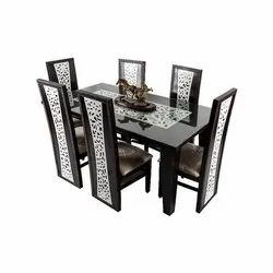 Wooden Black & White Dining Table with 6Chairs, For Home, Office