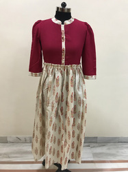 Cotswool Red With Feather Print Skirt