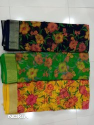 Chiffon Floral Print Saree With Jacquard Blouse