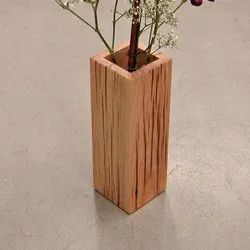 Brown Wooden Flower Pot