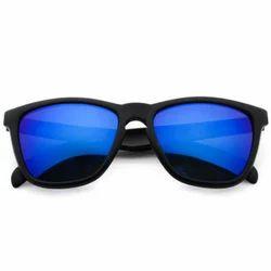 Black Blue Mirrored Wayfarer Sunglasses, Size: Medium