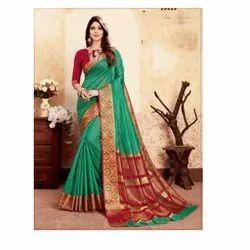 Formal Wear Ladies Banarasi Silk Green Saree, Packaging Type: Box, 6.3 m
