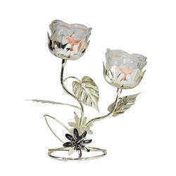 Silver Plated Double Candle Stand