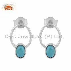 Designer Sterling Silver Arizona Turquoise Gemstone Womens Earrings
