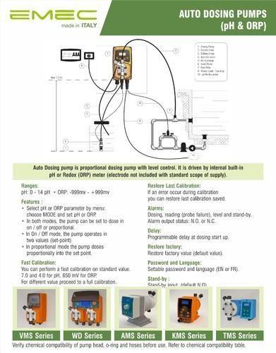 emec auto ph controller dosing pump, maximum flow rate 2000 lph, rsemec auto ph controller dosing pump, maximum flow rate 2000 lph