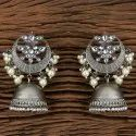White Indo Western Jhumkis With Black Plating 101160