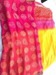 Gorget bandhani saree