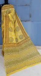 Natural Bagru Ajrakh Hand Block Printed Cotton Saree