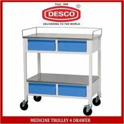 DESCO Silver Medicine Trolley 4 Drawer for Hospital