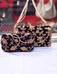 Embroidered Clutch Bag & Sling Bag Combo