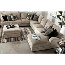 U Shape Wooden Sofa Set