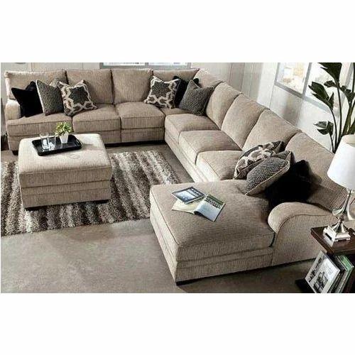 SKF Decor U Shape Wooden Sofa Set, Warranty: 1 Year