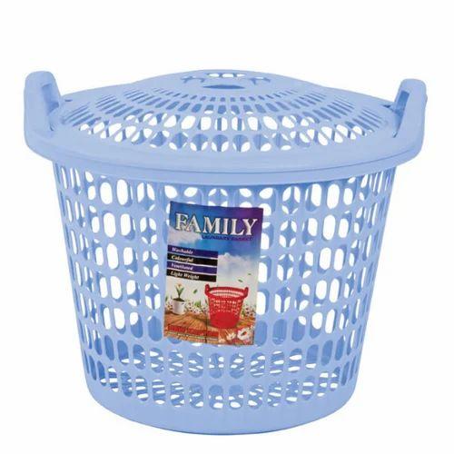Plastic Light Blue Family Laundry Basket